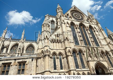 York Minster is a Gothic cathedral in York, England and is the second largest of its kind in Northern Europe