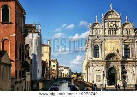 A classic view of Venice with canal and old buildings, Italy