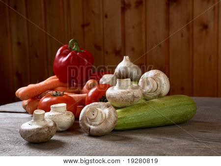 Mushrooms And Vegetables On A Table