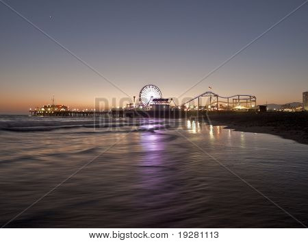 Icon Santa Monica Pier with a summer sunset.
