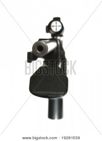 Isolated airgun pointed directly with telescopic or optical sight