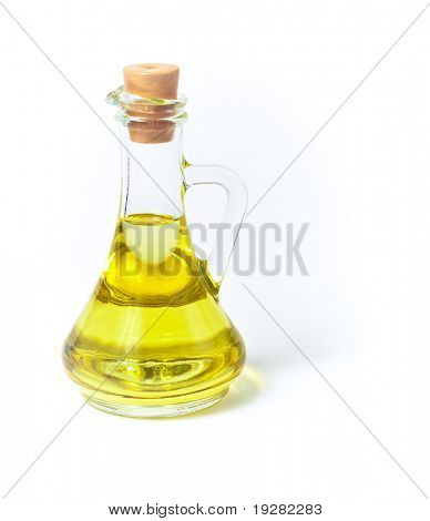 Olive or sunflower oil in glass bottle or container with cork isolated