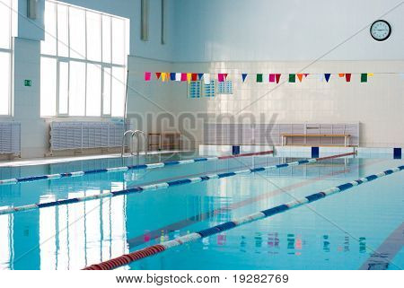 Empty new school swimming pool