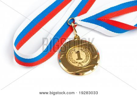 Goldene Medaille, isolated on white