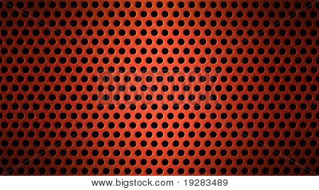 red metal holed or perforated grid background