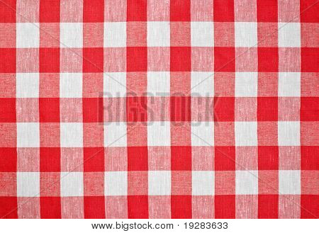 red checked fabric tablecloth