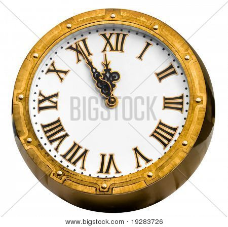 Old vintage  brass or bronze clock displaying five minutes before midnight isolated