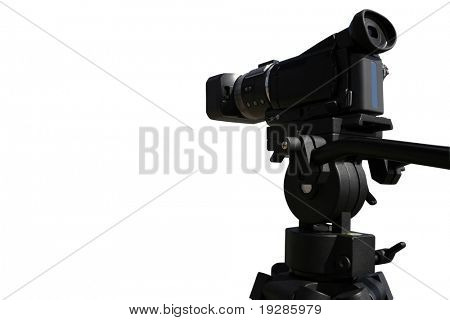 Digital HD video camera on tripod isolated on white background