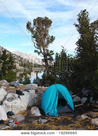 Camping by the lakeside