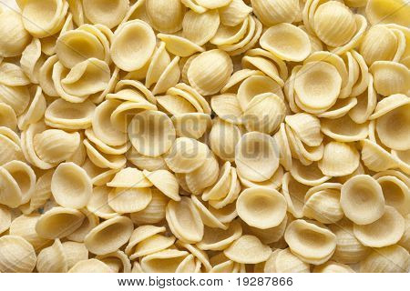 Close up of orecchiette pasta shells.
