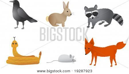 Prairie animals including crow, rabbit, raccoon, rattle snake, field mouse, and fox. Each animal on separate vector layer for easy editing and separation.