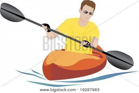 Semi-realistic kayaker on white background with orange kayak and small blue wake. Vector illustration.