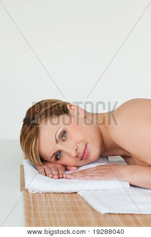 Young and beautiful blond-haired woman relaxing