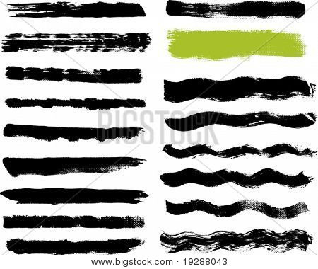 Seventeen real paint brush strokes on canvas. Each vector brush stroke grouped for easy use and separation.