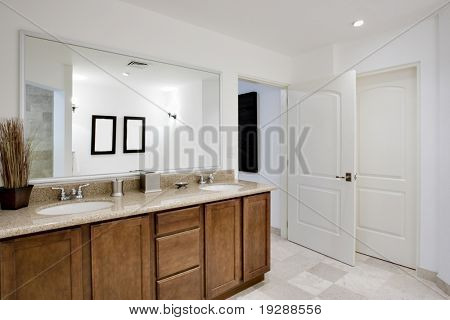 View of cabinetry, sinks, and mirror