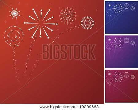 Graphical Style Firework Bursts and sparkles
