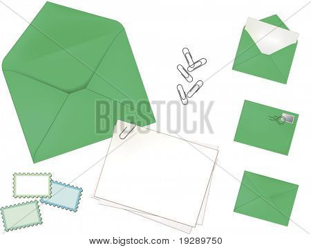 Green Envelope Set. Highly detailed shadowing and lines for realistic appearance. Each element on separate layer.