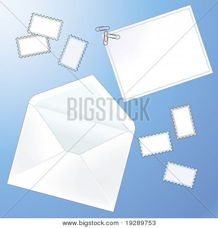 White Envelope and Letter Set with Stamps and Paper Clips on Blue Background. All elements on separate layers.