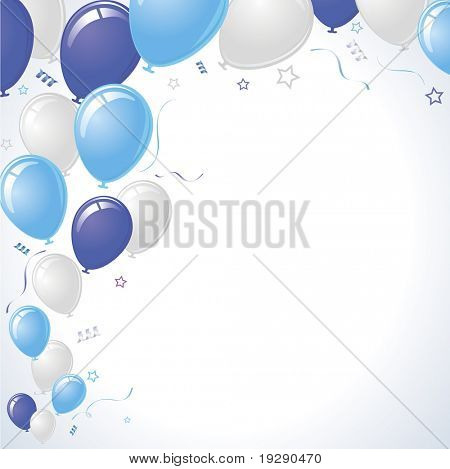 Blue, Purple and Silver Balloons with Ribbons and Stars