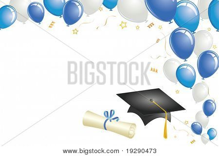 Graduation celebration with balloons, cap, diploma, and gold confetti