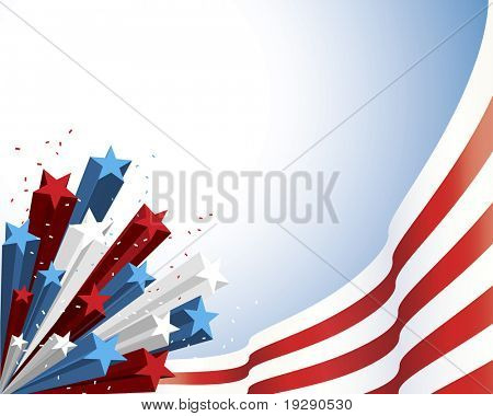 Patriotic Red and White Flag with three dimensional shaded star burst