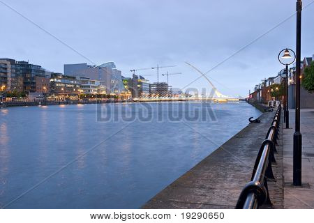 Dublin Ireland. Samuel Beckett Bridge and River LIffey