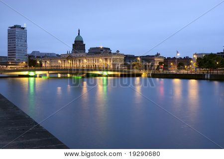 Custom House in Dublin Ireland seen from across the river Liffey