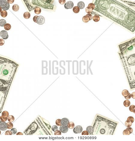 Dollar bill, penny, nickel, quarter and dime currency border isolated on white