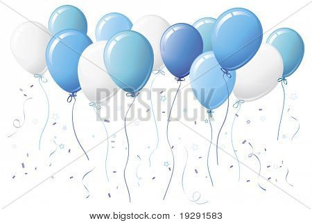 Blue party balloons with confetti and streamers