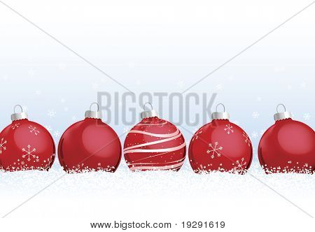 Red Christmas Ornaments in Snow. Detailed snow flakes falling in background against blue gradient