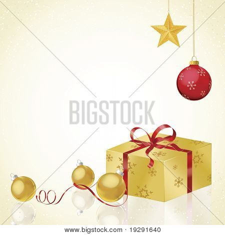 Gold gift wrapped present with gold and red Christmas decorations. Reflective surface for exceptional realism.