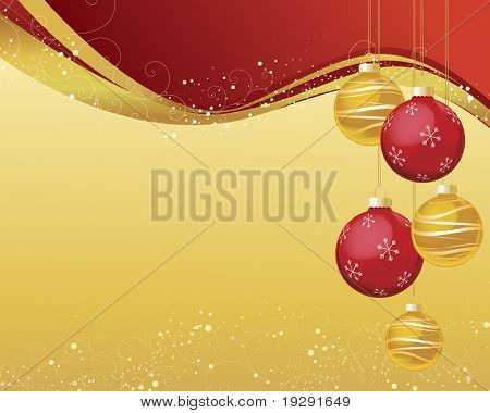 Red and gold Christmas ornaments on shiny wave background with snow speckles and decorative curls