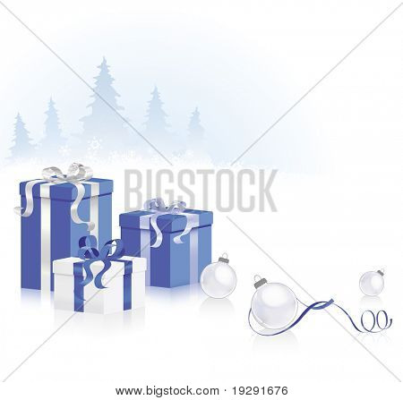 Christmas blue scene with blue gifts and trees in background.