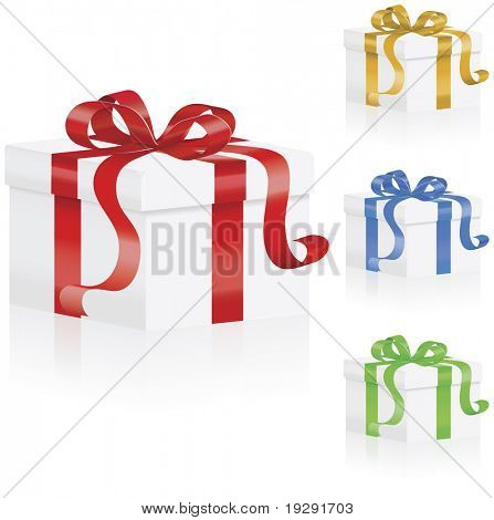 Gift boxes with ribbons design set of red, gold, blue and green