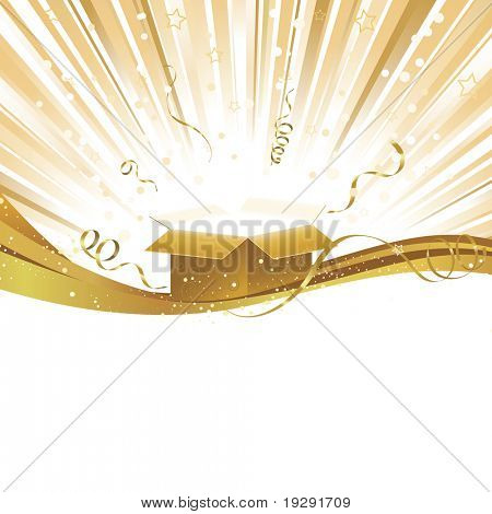 Yellow gold burst of light with gift box ribbons and stars in background