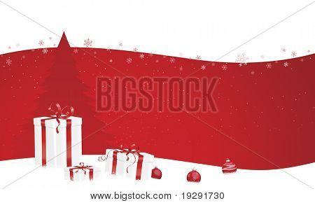 Christmas scene banner design horizontal layout. Red theme with tree, ornaments, and gifts