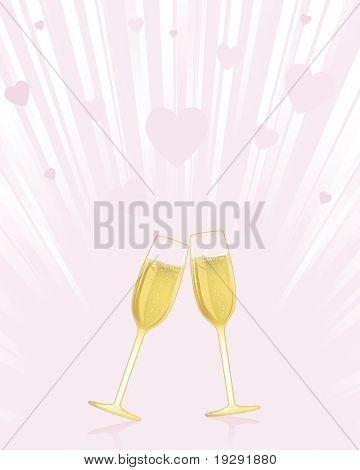 Champagne glasses on pink heart burst background