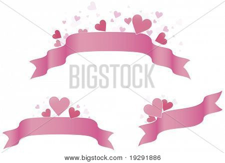 Pink Valentine heart banners