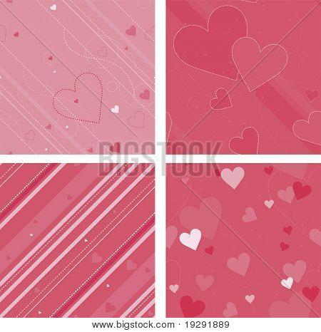 Pink valentine background seamless pattern set