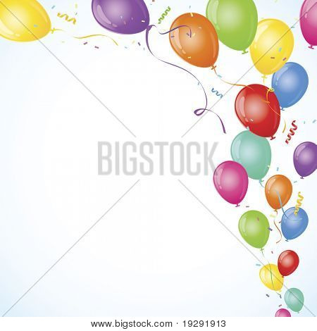 Multicolored Party balloons with copy space and blue vignette