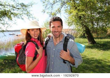 Happy couple on a hiking day