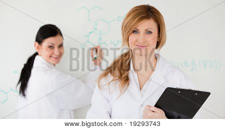 Two scientists in front of a white board