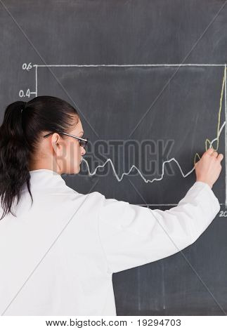 Scientist drawing charts on the blackboard