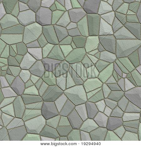 Muro de piedra verde gris