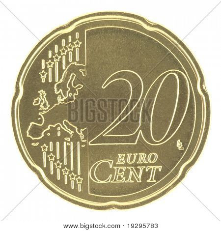Uncirculated 20 eurocent with new map