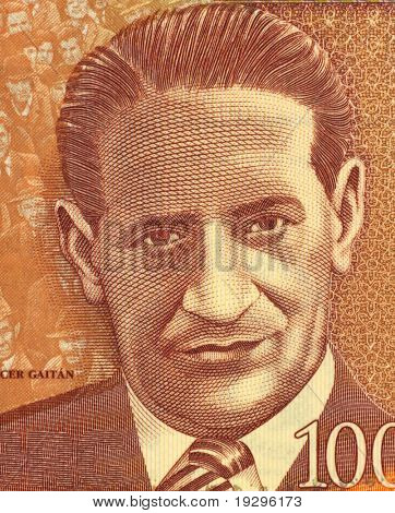 COLOMBIA - CIRCA 2006: Jorge Eliecer Gaitan (1903-1948) on 1000 Pesos 2006 Banknote from Colombia. Politician and leader of a populist  movement in Colombia.