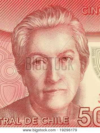 CHILE - CIRCA 2009: Gabriela Mistral (1889-1957) on 5000 Pesos 2009 Banknote from Chile. Chilean poet,educator,diplomat & feminist who was the first Latin American to win the Nobel Prize in Literature