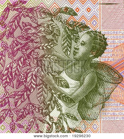 CONGO - CIRCA 1997: Woman Harvesting Coffee Beans on 1 Centime 1997 Banknote from Congo.