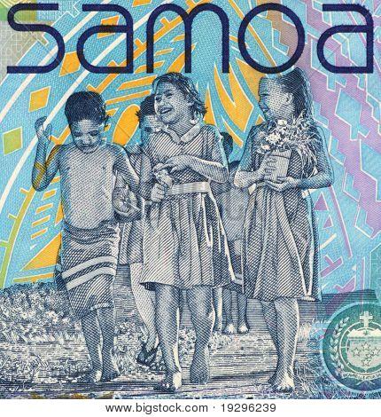 SAMOA - CIRCA 2008: Niños en billetes de 10 2008 Tala de Samoa.