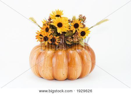 Autumn Halloween Pumpkin And Flowers